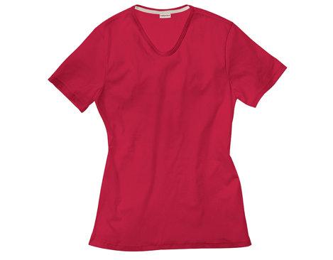 a3a16ad6f89f Herren T-Shirt aus Bio-Baumwolle mit V-Ausschnitt gelegt in Rot