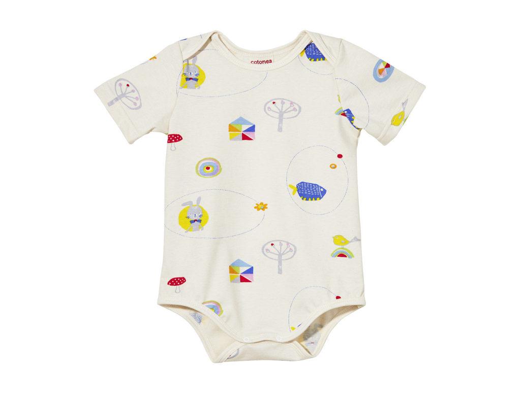 faf681229c Baby Body mit kurzen Armen und Druckknöpfen aus Bio Baumwolle in Naturfarbe  mit Tiermotiven