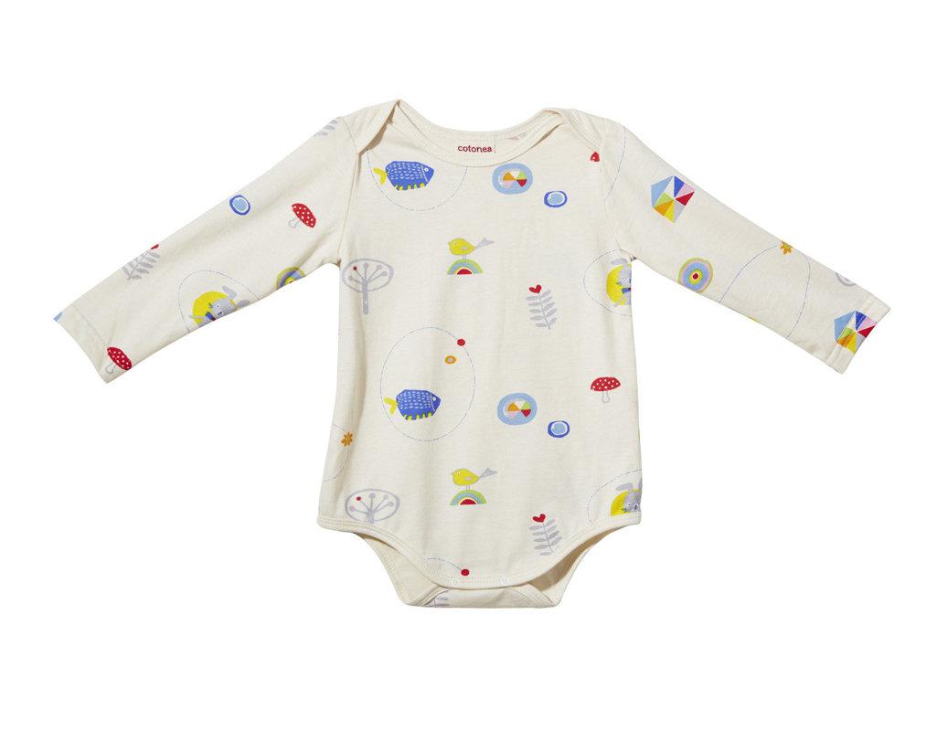 250b0a9137 Langarmiger Baby Body aus Bio Baumwolle mit Druckknöpfen mit Meister Hase  Design