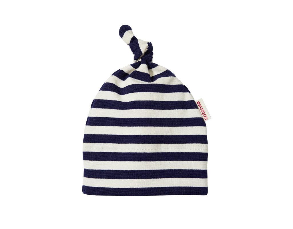 1a244f720c Baby und Kleinkind Mütze mit Marine Blauen Streifen und Knoten aus Bio- Baumwolle