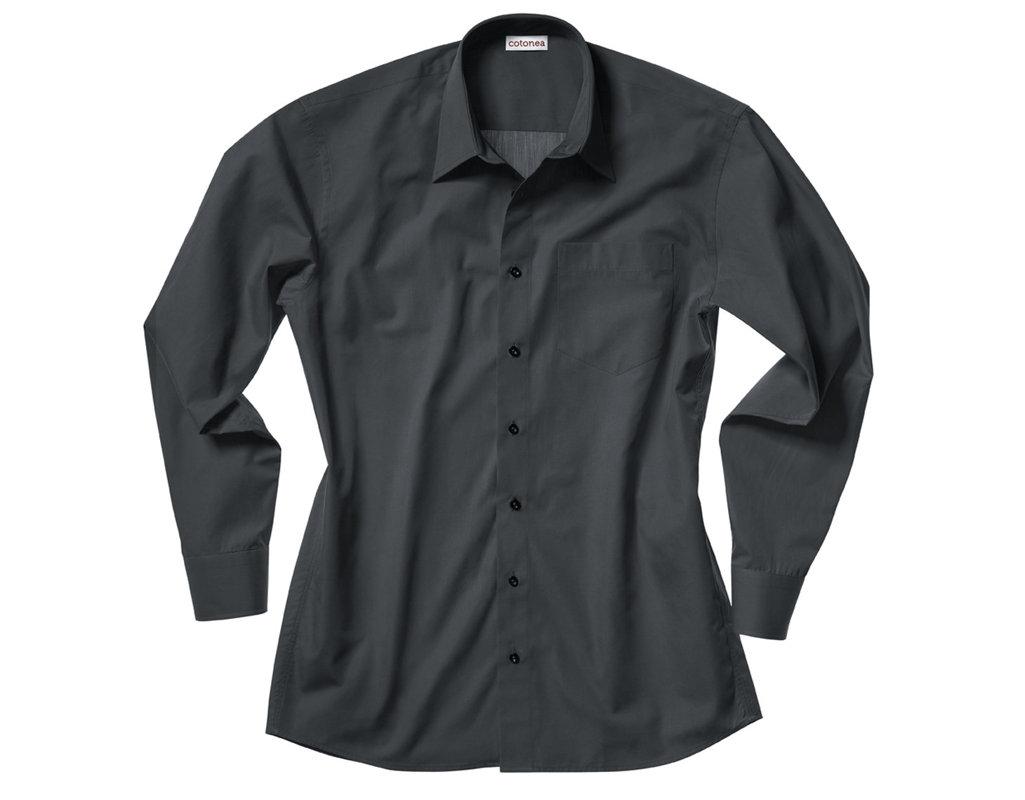 7e5d3a0b8f44 Bio Baumwoll Herren Hemd mit Kentkragen und extra langen Armen in Schwarz