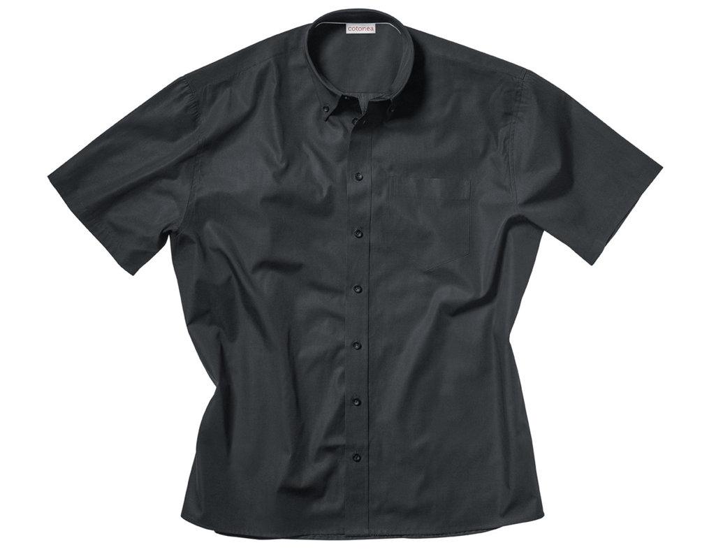 aa2280a6e6dc Kurzarm Herren Hemd aus Bio Baumwolle mit Button-Down Kragen in Schwarz  Model Rückenansicht Herren Hemd mit kurzen Armen und Button-Down Kragen in  Schwarz