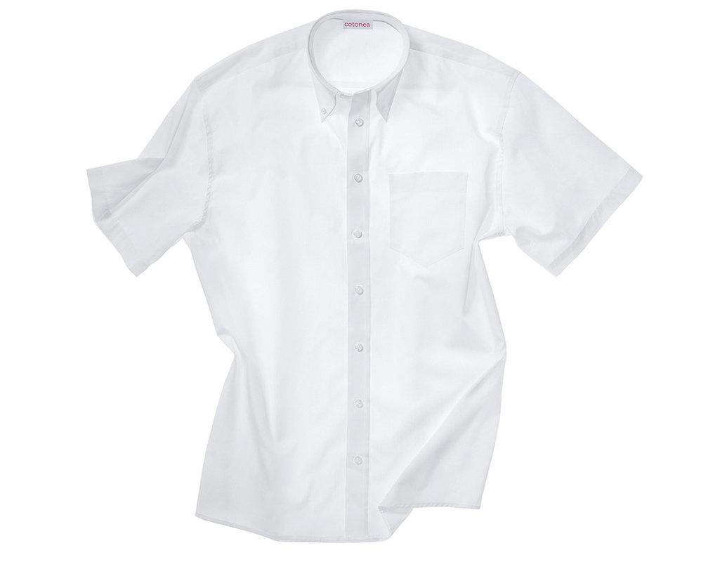 7ec8a4b0fede Kurzarm Herren Hemd aus Bio Baumwolle mit Button-Down Kragen in Weiß Model  Rückenansicht Herren Hemd mit kurzen Armen und Button-Down Kragen in Weiß