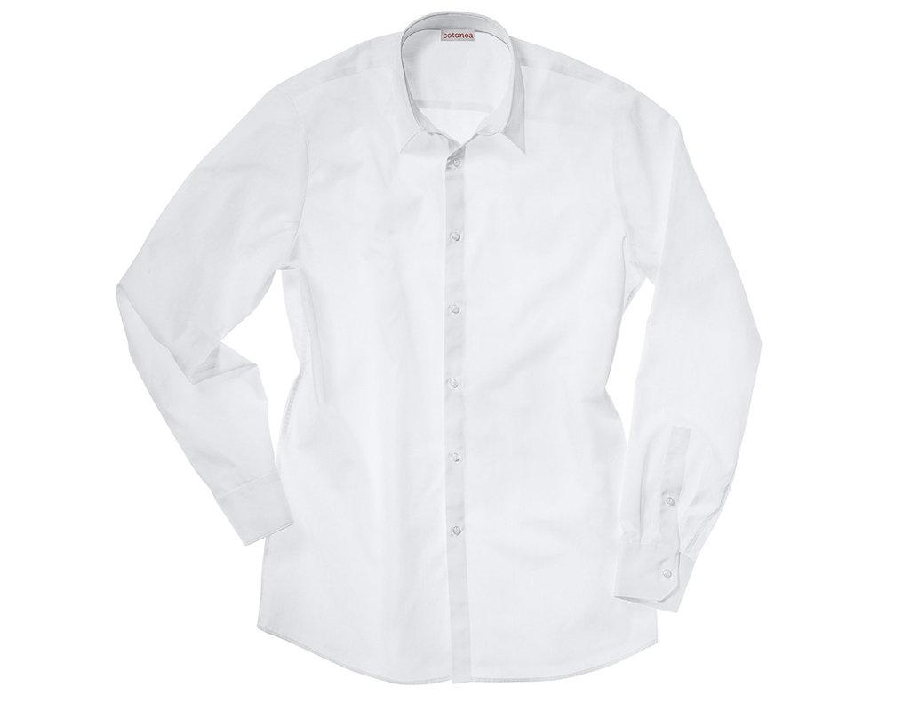 fbe5c635c130 ... Herren Hemd aus Bio Zwirn mit New-Kent Kragen und extra Langarm in Weiß  mit