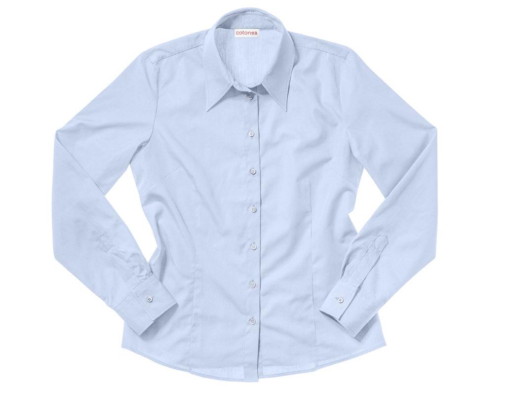 e2717e3cd1e5 Bluse aus Bio-Baumwolle gelegt mit langen Armen und klassischem Schnitt in  Hellblau