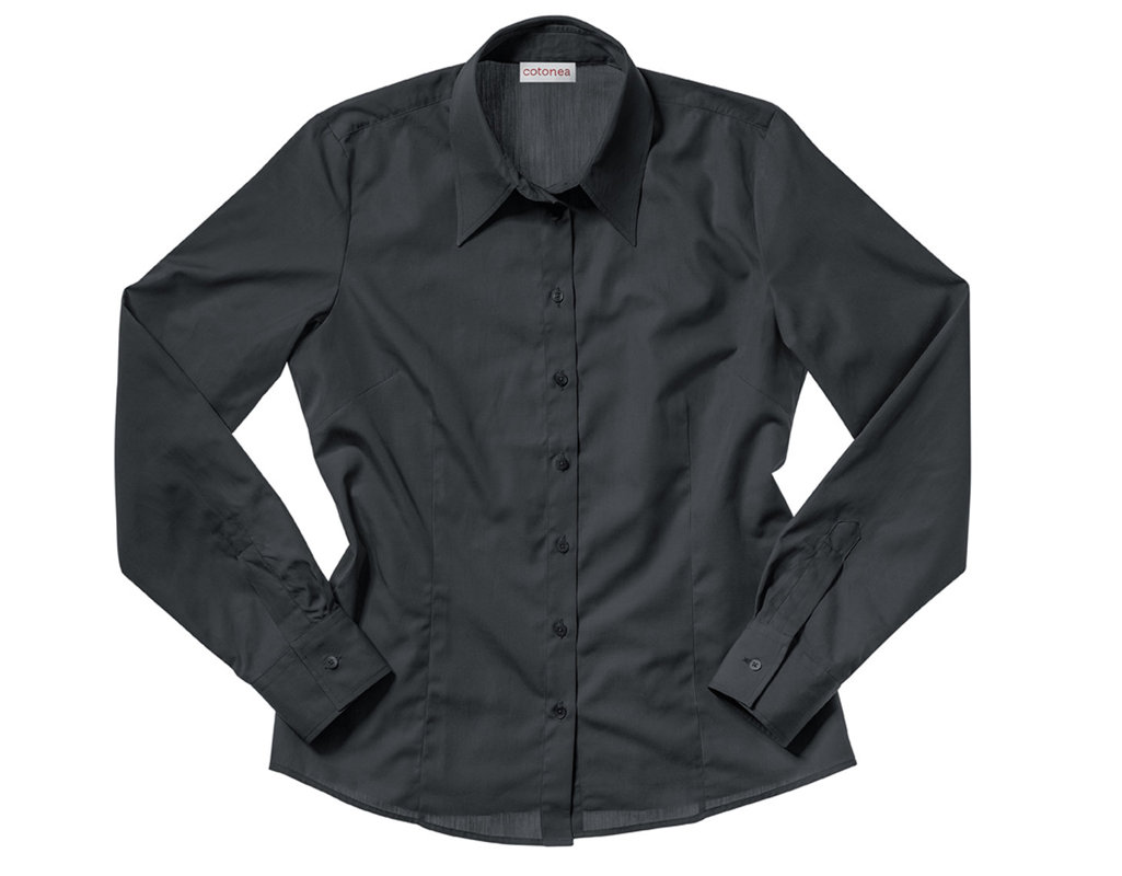 9c249cdfdfec Bluse aus Bio-Baumwolle gelegt mit langen Armen und klassischem Schnitt in  Schwarz