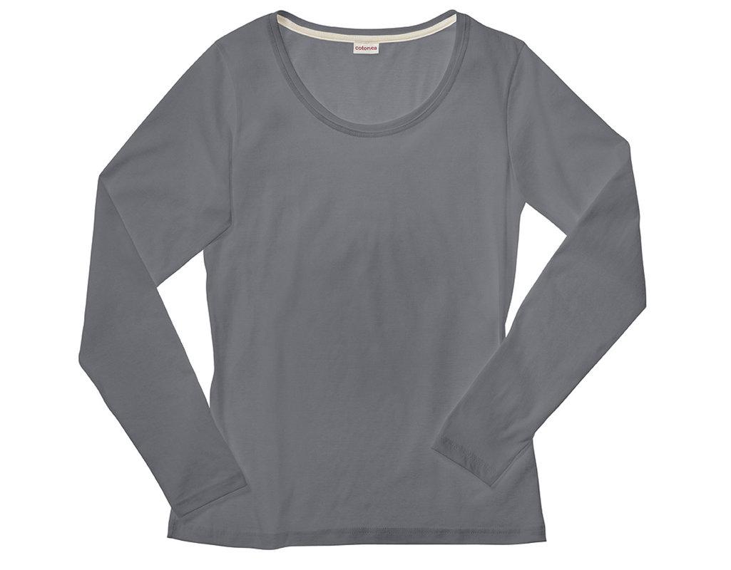 b3451b7959cf Shirt mit langen Armen für Damen aus Bio-Baumwolle gelegt in Anthrazit