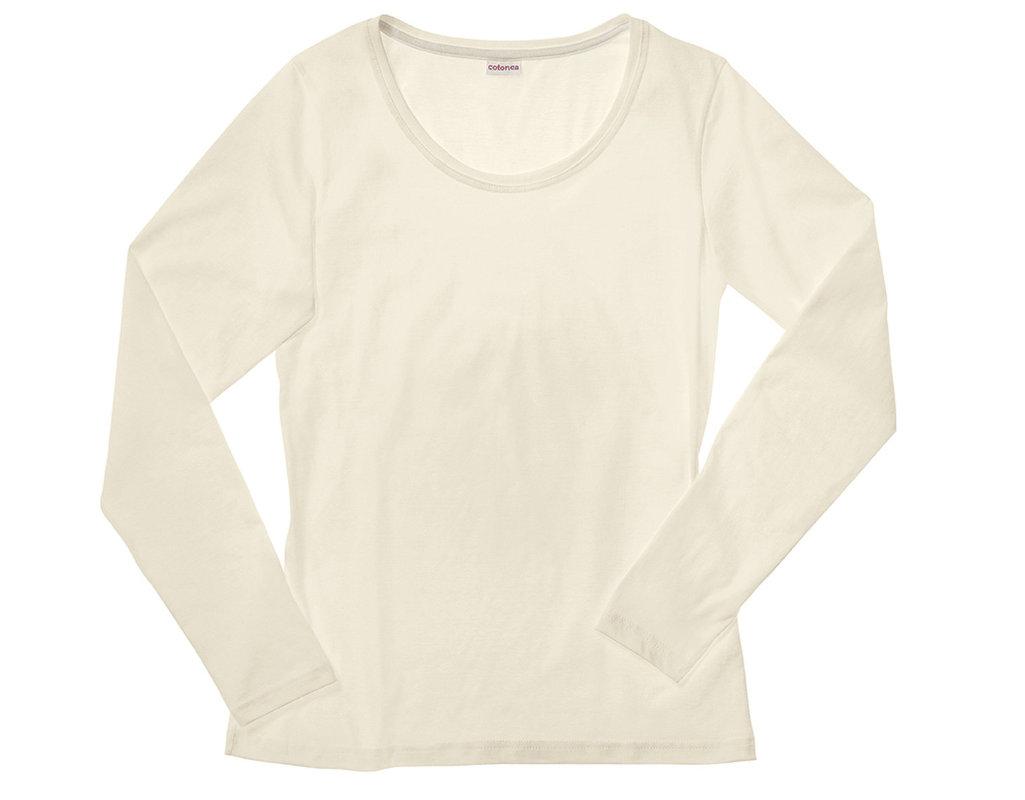 715258d23651 Shirt mit langen Armen für Damen aus Bio-Baumwolle gelegt in Naturfarbe