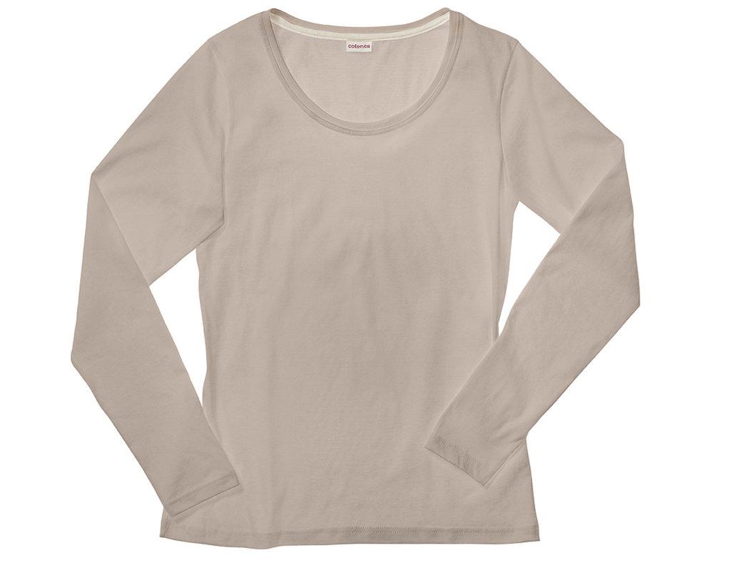 ee53aec4d590 Shirt mit langen Armen für Damen aus Bio-Baumwolle gelegt in Sand Braun